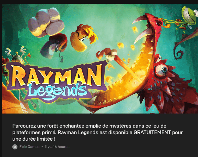 Rayman Legends Gratuit sur PC Epic Games